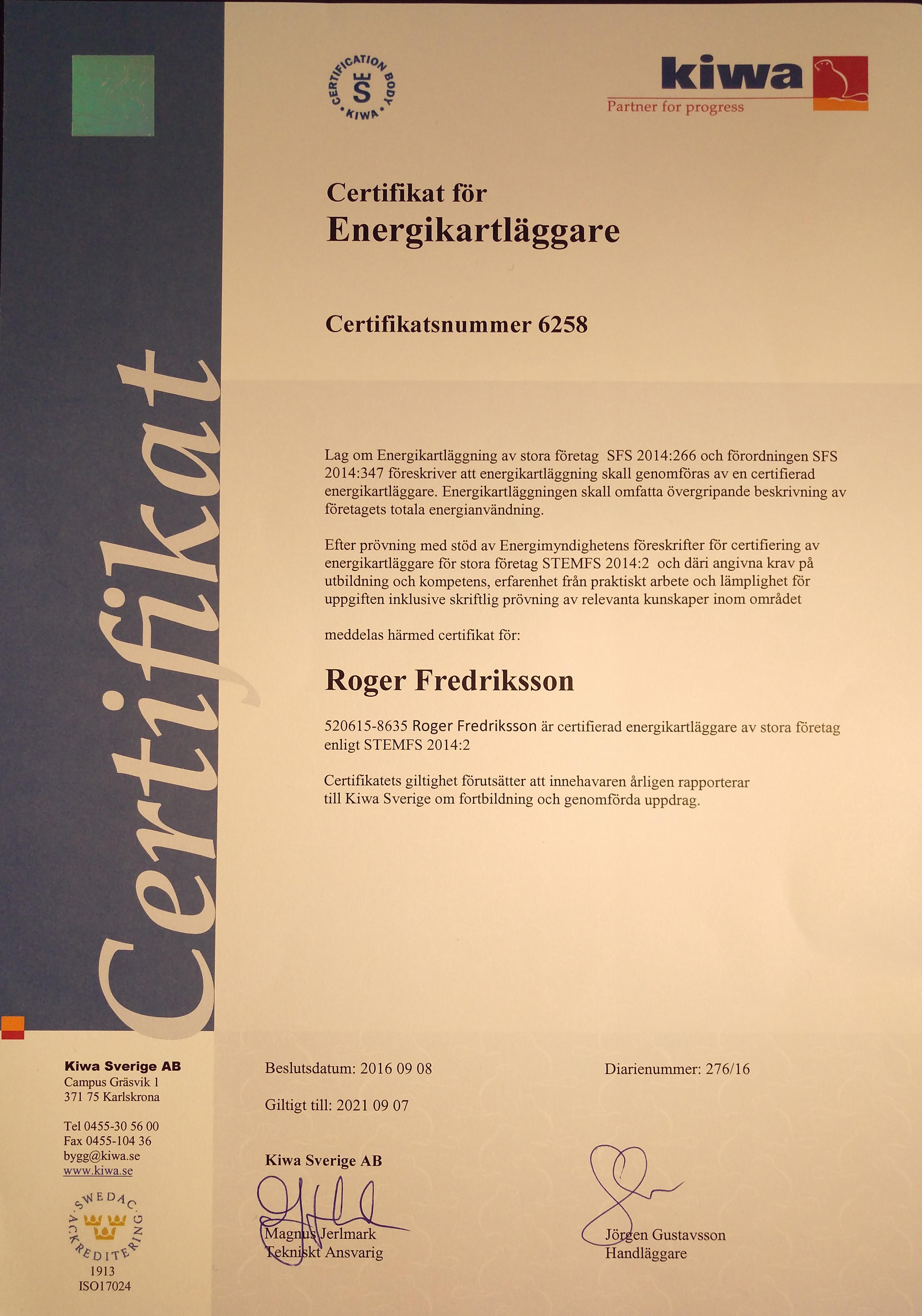 EKL-certifikat för Roger Fredriksson
